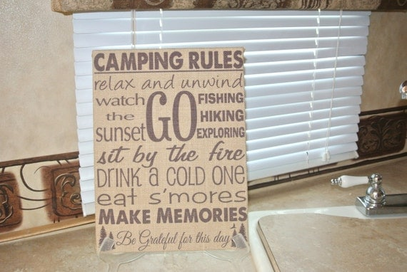 Camping Rules Custom Burlap Wall Hanging Sign Rv Trailer Decor