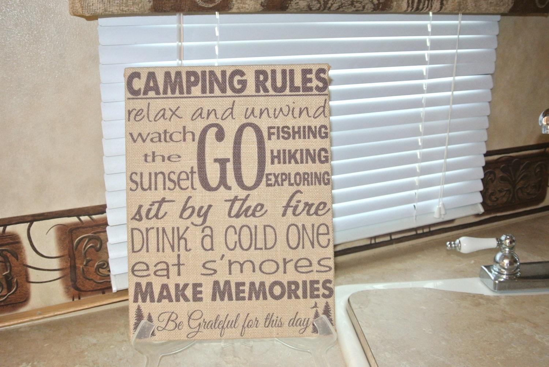 Camping Rules Custom Burlap Wall Hanging Sign Rv Trailer Decor