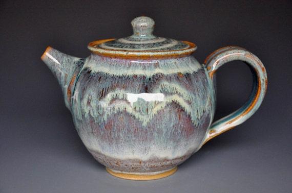 Stoneware Ceramic Handmade Teapot Pottery Green Blue Jade A