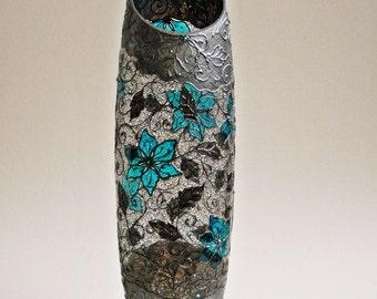 Vase, Hand Painted Vase, Glass Vase, Turquoise Home Decor, Black Lace
