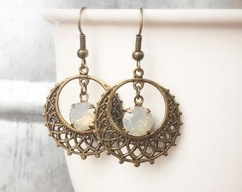 Boho Hoop Earrings - Boho Bridal Earring - Bohemian Wedding Earring - Gypsy Wedding Jewelry - Coachella Festival Jewelry - Gold Hoop Earring