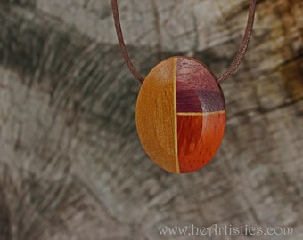 Red and Purple Beveled Ellipse Pendant Necklace in Pecan, Padauk and Purpleheart