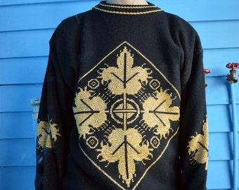 Gold Filigree Print Sweater - Large
