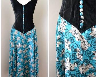 1930s Silk velvet & printed silk evening dress / 30s bias cut - M