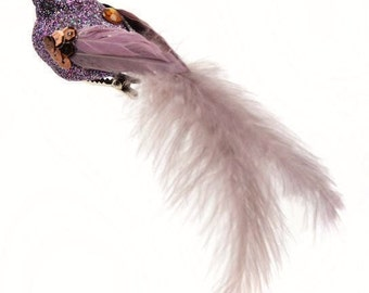 ONE Artificial Sable Glitter Bird with Feather Tail on Clip - Craft Embellishment - Home Decor
