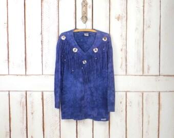 Vintage blue tie dye fringe concho long sleeve cotton top/Southwestern/boho hippie festival tshirt/long sleeve pullover