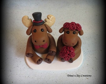 Wedding Cake Topper, Moose, Polymer Clay, Custom Wedding or Anniversary Keepsake, Animal