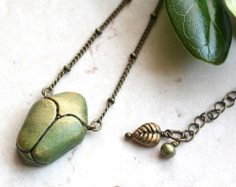 Junebug Necklace, Green Beetle Pendant, Insect Necklace, Garden Jewelry, Beetle Necklace, June Bug, Insect Jewellery Nature Inspired Jewelry