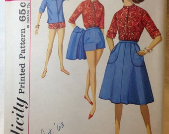 Simplicity Vintage Misses Shirt, Scarf, Shorts and Wrap Around Skirt - Pattern #4899 Size 14 Misses