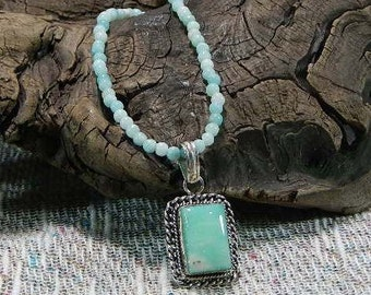 "Blue green amazonite pendant necklace 19"" long semiprecious stone jewelry packaged in a colorful gift bag 10950"