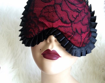 Madame Sleep mask in Burlesque Red Silk with Calais Lace on the front - Love Me Sugar HH