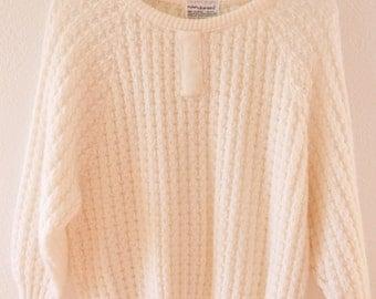 White • Chunky Knit Sweater • Nan Dorsey • 1970s