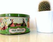 Ole South Hard Candy Dainties Green Tin with Lid