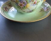 Antique Tea Cup and Saucer - Mint Green with Daisy type Flowers - Hand Painted - Luster - Wedding Table Setting