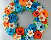Blue Orange Rose Origami Paper Wreath With Cream Liliies