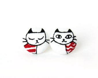 Cat earrings - kitten earrings - kawaii children kids cute black red white kitty