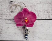 Fuchsia Pink Orchid Nautical Wedding Boutonniere