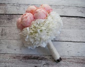 Blush Pink Peony and Hydrangea Wedding Bouquet