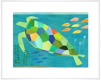 Sea Turtle Swim Giclee Print