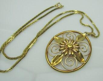 Vintage Krementz Gold Filled Huge Pendant Necklace. Elaborate Floral Motif Ornate Chain. Antique Art Nouveau Revival Jewelry