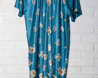Vintage Silky Robe Lingerie Cover up House Coat Womens Floral Teal