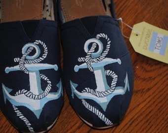 Custom Hand Painted Toms size 10 with Anchor design  - sold note this is sample only