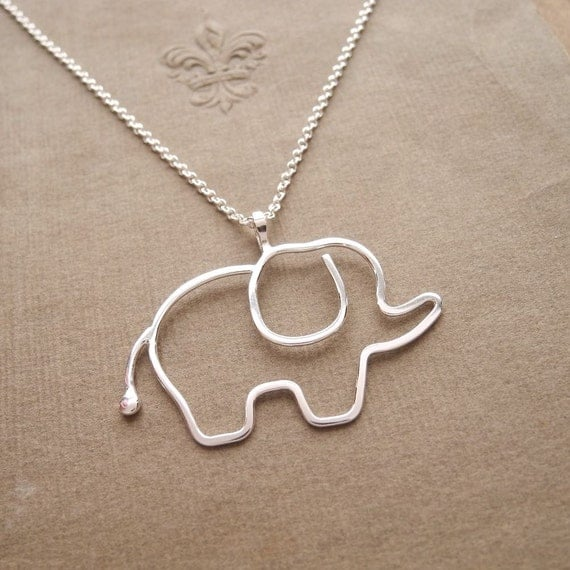 Elephant Necklace, Argentium Sterling Silver, Sterling Silver Chain, Ready To Ship
