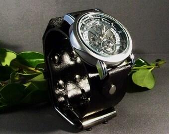 Mechanical Watch-Steampunk Watch-Mens Watch-Black Leather Watch-Skeleton Watch-Leather Watchband-Leather Wrist Watch-Gifts-Watches