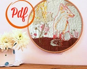 Fox and foxgloves embroidery pattern - PDF pattern - instant download - woodland animal design