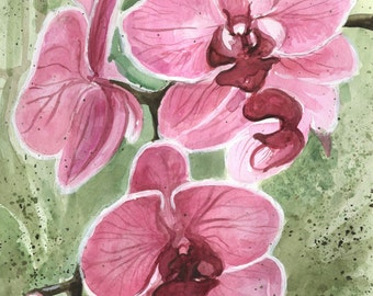 Magenta Orchid Green and Pink Watercolor Painting Poster Print, Spring Master Bedroom Decor Orchid, Apartment wall floral decor