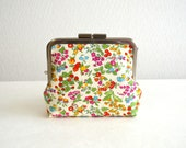Limited: Liberty cotton floral frame purse in white - small cosmetic pouch, clasp purse