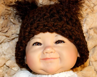 Baby Squirrel Hat - Crochet Photo Prop - Brown Gray Black White ANY Colors- Baby Boy or Girl