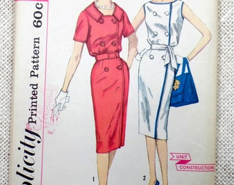 Vintage Pattern Simplicity 3350 Sewing pattern 1950s sheath wiggle dress Bust 36 double breasted piping contrast