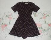 80's 90's black silk pink polka dot romper 1990's 1980's pleated fluttery button up shorts skorts onesie fuchsia romper short jumpsuit XS S