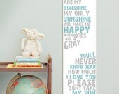 Custom/ Personalized You Are My Sunshine canvas growth chart in blue and gray