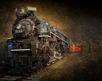The Pere Marquette 1223 an Old Vintage Michigan Railroad Steam Locomotive Engine No.0160tx A Train Landscape Photograph