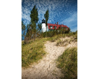 Beach Path to the Point Betsie Lighthouse on Lake Michigan in early Fall near Frankfort Michigan No.9212 A Lighthouse Seascape Photograph