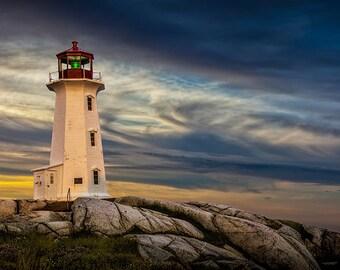 Sunrise at the Lighthouse at Peggy's Cove Harbor in Nova Scotia Canada No.163 A Fine Art Lighthouse Seascape Photograph