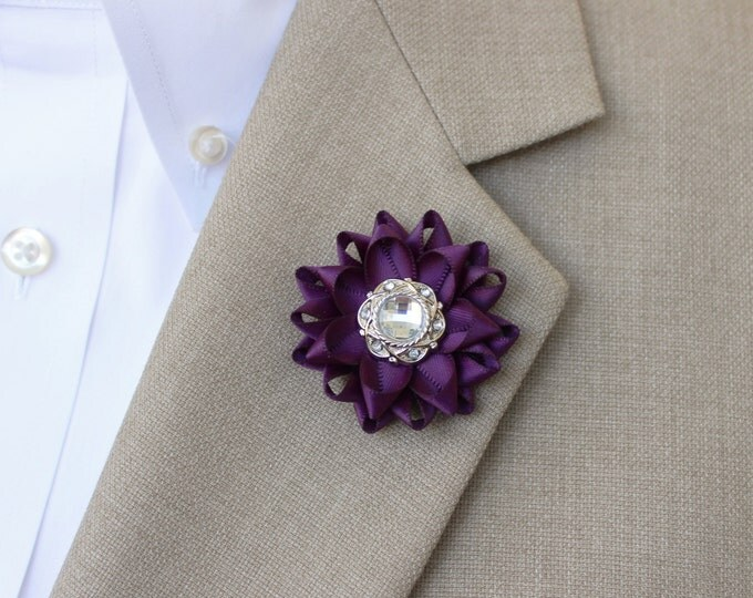 Mens Lapel Flower Pin, Custom Lapel Pin, Purple Boutonniere, Purple Lapel Flower for Men, Mens Lapel Pin, Mens Fashion Accessories, Custom