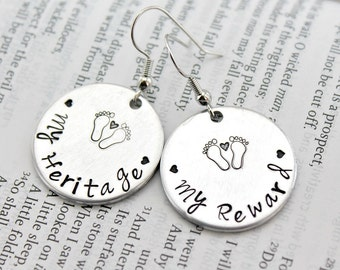 Psalm 127:3 My reward My heritage hand stamped Mom Baby Feet Earrings