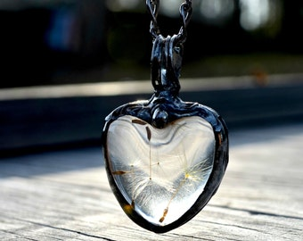 Heart Necklace - Real Dandelion Pendant - Dandelion Seed Jewelry - Romantic Gift - Terrarium Jewelry  (2281)