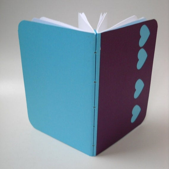 Hand Bound Turquoise Heart Notebook