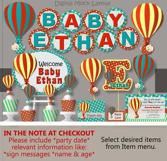 Hot air balloon baby shower decorations package for Baby shower decoration packages