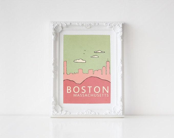 Boston in Pink // Typographic Print, Digital Print, Art Print, Art Poster, Nursery Art, Skyline Illustration, Pink, Sage, Rose