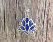 Sterling Cobalt Blue Sea Glass Sterling Silver Lotus Flower Locket Beach Wedding Party Gift by Wave of Life™