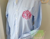 Oversized Oxford Shirt with Monogram for Bridal Party or Everyday Wear Button Down with Pocket Plus Size Available