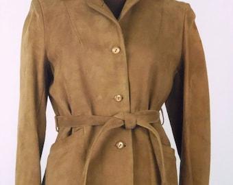 Vintage 70's Women's Suede Jacket Blazer Brown Size S / Small