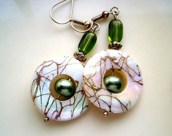 White shell and green pearl earrings, Green earrings, Gold and White Shell Earrings