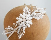 Pearl Bridal Headband Headpiece Beaded Art Deco Vintage Ethereal Wedding Headdress Hair Boho Facsinator Side Tiara