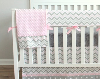 Pink and Grey Zoom Bumperless Crib Rail Bedding Set.